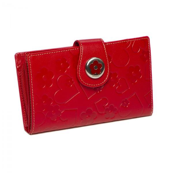 Monedero-billetero mujer Amichi color rojo en piel