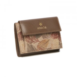 Monedero-billetero mujer Amichi color taupe en piel
