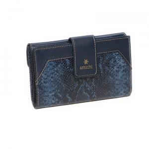 Monedero-billetero mujer Amichi color azul en piel